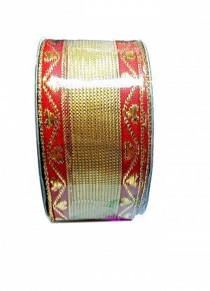KRM602414 Лента   органза с проволокой 40 мм х 10 м , золото с красной каймой