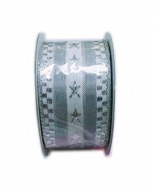 KRC 35114 Лента   органза с проволокой 40 мм х 10 м, серебро