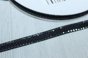 Репсовая лента с люрексом серебро 6мм * 20 ярдов (+-1)