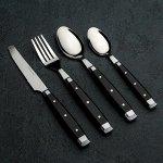 Набор столовых приборов «Аппетит», 24 предмета, цвет чёрный