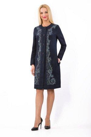 """Пальто женское """"Ренессанс"""" модель 842/2 темно-синее"""