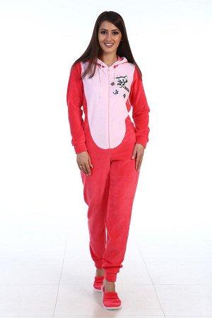 Пижама женская Кигуруми Котик 1-36б (коралл)