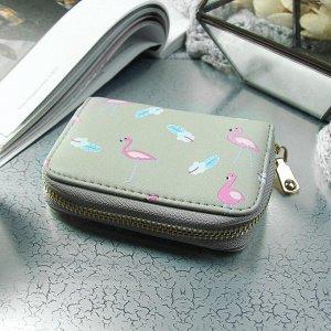 Визитница «Фламинго», горизонтальная, 1 ряд, 9 картхолдеров, цвет серый