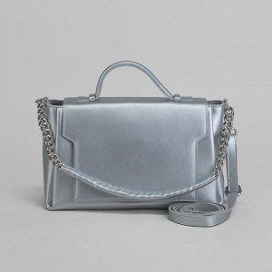 Сумка женская, отдел с перегородкой, длинный ремень, наружный карман, цвет серебристый