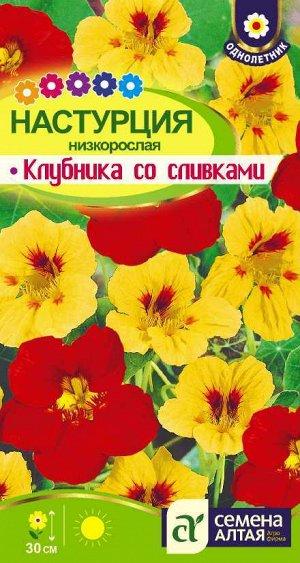 Цветы Настурция Клубника со сливками  низкорослая/Сем Алт/цп 1 гр. НОВИНКА
