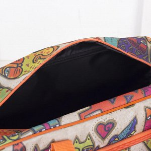 Сумка дорожная, отдел на молнии, наружный карман, длинный ремень, цвет бежевый/оранжевый