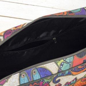 Сумка дорожная, отдел на молнии, 3 наружных кармана, цвет хаки