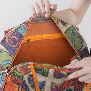 Сумка дорожная, отдел на молнии, цвет оранжевый/разноцветный
