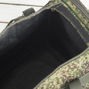 Сумка дорожная, отдел на молнии, 3 наружных кармана, длинный ремень, цвет хаки
