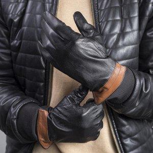 Перчатки мужские, р-р 10, гладкие, подклад флис, цвет чёрный/коричневый