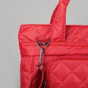Сумка дорожная, отдел на молнии, наружный карман, длинный ремень, цвет красный