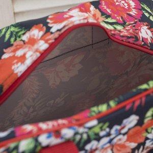 Сумка дорожная, отдел на молнии, 2 наружных кармана, длинный ремень, цвет чёрный/красный