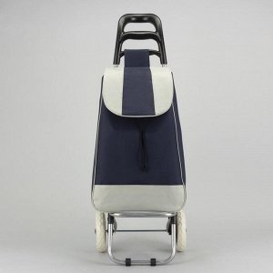 Сумка хозяйственная на колёсах, отдел на шнурке, нагрузка до 25 кг, цвет синий