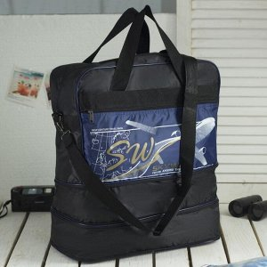 Сумка дорожная, ручная кладь, отдел на молнии, с увеличением, наружный карман, длинный ремень, цвет чёрный/синий