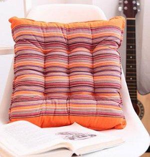 Подушка в полоску оранжевая