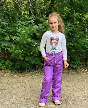Брюки для девочек на флисе со светоотражающим кантом