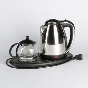 Чайник электрический Irit IR-1502, металл, 1.8 л, 1500 Вт, заварник 0.8 л, серебристый
