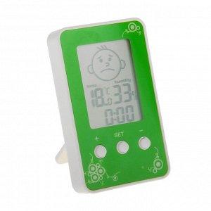 Термометр LuazON LTR-12. электронный. указатель влажности. часы. МИКС