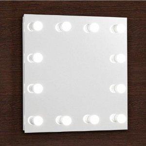 Зеркало, гримерное, настенное, 12 лампочек, 60?60 cм
