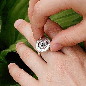 "Кольцо-спиннер ""Сердце"", серебряный, металл, D-16 мм"