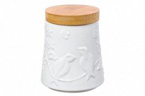 """Банка для хранения сыпучих продуктов """"Птички на ветке"""" 500мл с деревянной крышкой 540215"""