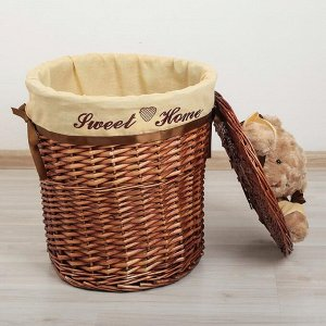 Корзина универсальная плетёная с крышкой Доляна «Медвежонок», 45?45?55 см, цвет коричневый