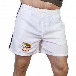 Легкие белые шорты для мужчины-рыбака – свободно сидящий фасон, идеальная длина, контрастные лампасы №1005