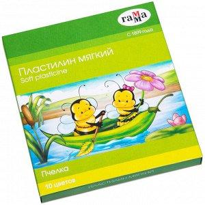 """Пластилин восковой мягкий Гамма """"Пчелка"""", 10 цветов, 150г, со стеком, картон. упак."""