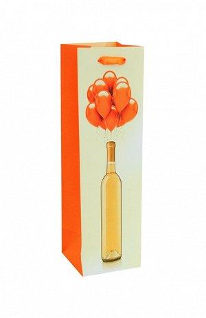 """Пакет под бутылку """"Бутылка с шарами"""" 36х10,5х10,5см ВК087 ВЭД"""