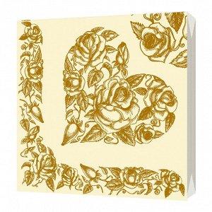 """Салфетки трехслойные """"Золотое сердце"""" 33х33см, 20 шт 2696"""
