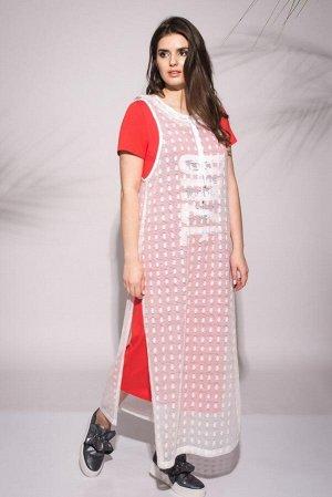 Накидка, платье Faufilure outlet Артикул: С732 белый+малиновый