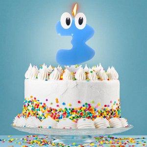 """Свеча в торт цифра 3 """"С днем рождения. малыш"""""""
