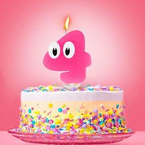 """Свеча в торт цифра 4 """"С днем рождения. малышка"""""""