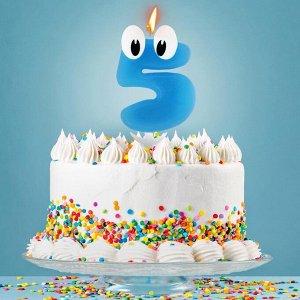 """Свеча в торт цифра 5 """"С днем рождения. малыш"""""""