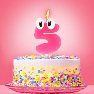 """Свеча в торт цифра 5 """"С днем рождения. малышка"""""""