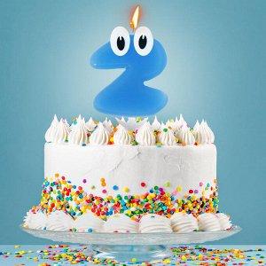 """Свеча в торт цифра 2 """"С днем рождения. малыш"""""""