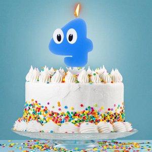"""Свеча в торт цифра 4 """"С днем рождения. малыш"""""""