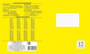 Тетрадь школьная Клетка (Арт.219.01)         12 листов Желтая