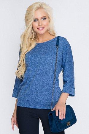 Блузка из трикотажа меланж с цельнокроеными рукавами