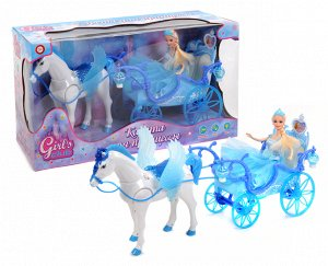"""Карета """"Girl""""s club""""  функц. с ходячей лошадкой , с куклой, кор. 56*19*30 см."""