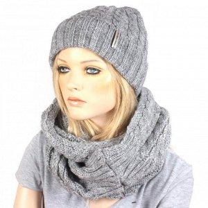 Комплект жен, шапка (подклад флис, люрекс) +снуд+варежки; шерсть 70%, акрил 30%, серый