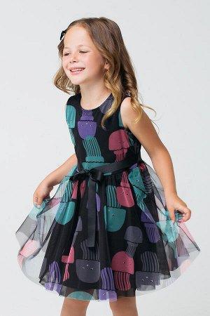 5536 Платье/черный, медузы