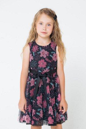 5536 Платье/черный, цветы