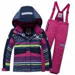 Подростковый для девочки зимний горнолыжный костюм темно-синего цвета