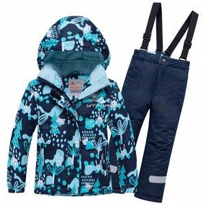 Детский зимний горнолыжный костюм синего цвета