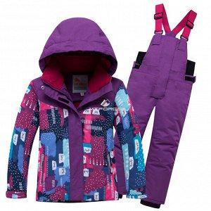 Детский зимний горнолыжный костюм фиолетового цвета