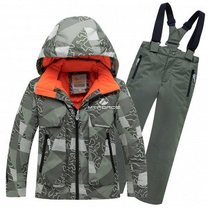 Подростковый для мальчика зимний костюм горнолыжный цвета хаки 8923Kh