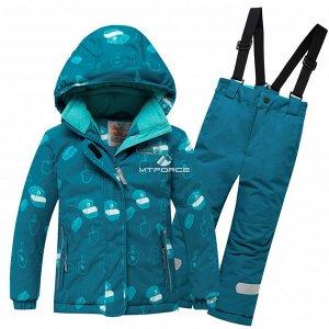 Детский зимний горнолыжный костюм бирюзового цвета
