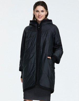 Демисезонная женская куртка с капюшлном, цвет ЧЕРНЫЙ