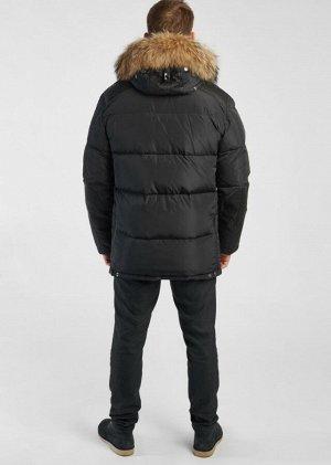 Пуховик Мужская классическая куртка для повседневной носки. Особенностями модели являются: декоративный элемент застёжка-карабин и отделка искусственным мехом внутри капюшона. Плечевая область, рукава
